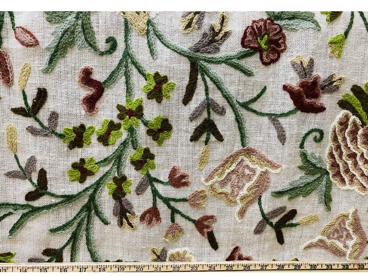 NEW Novelty Decorating Drapery Fabric- Crewel Floral Embroidery