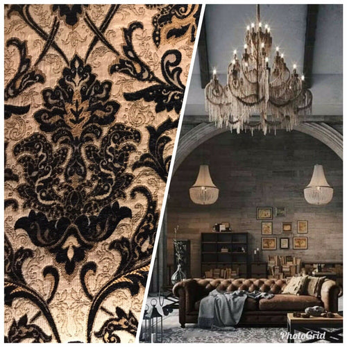 Designer Velvet Chenille Burnout Damask Brocade Fabric - Black Beige Gold BTY