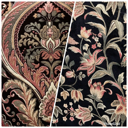SWATCH Designer Velvet Chenille Upholstery Decorating Fabric - Black Floral