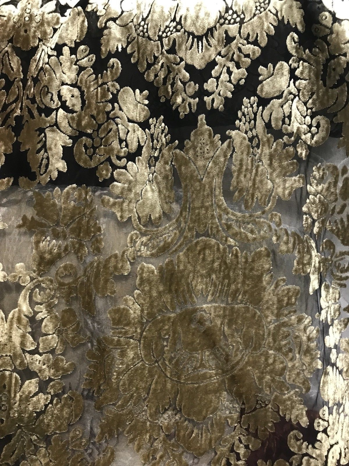 Designer Rayon Burnout Velvet Fabric - Silver Gold On Black Chiffon- By The Yard - Fancy Styles Fabric Pierre Frey Lee Jofa Brunschwig & Fils