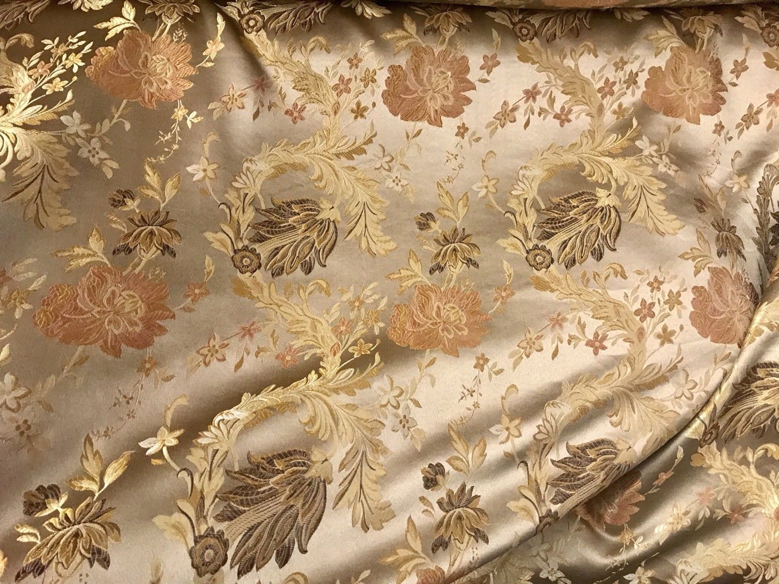"SALE 110"" Wide Designer Brocade Satin Fabric- Antique Floral - Damask - Fancy Styles Fabric Boutique"
