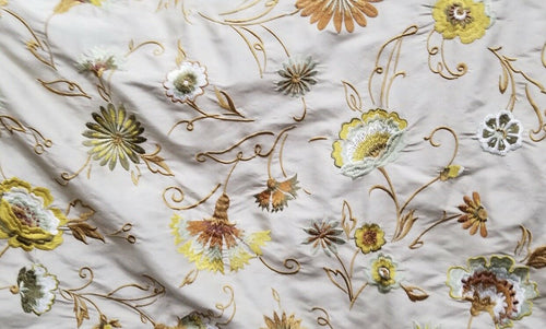 NEW! Novelty 100% Silk Taffeta Embroidered Fabric - Made in India- Floral Grey