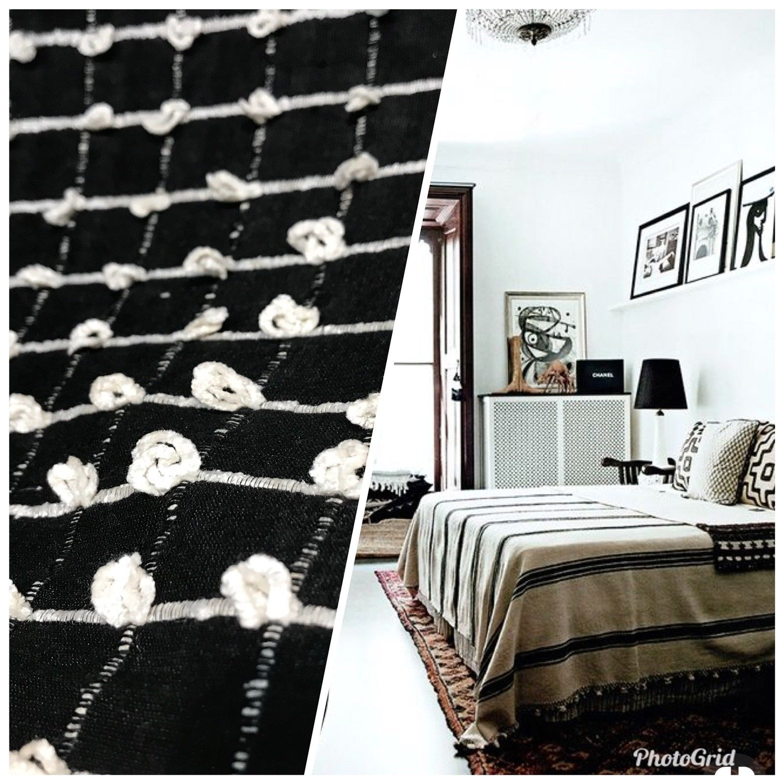 Interior Design Yarn Loop 100% Silk Fabric Black And White - Fancy Styles Fabric Pierre Frey Lee Jofa Brunschwig & Fils