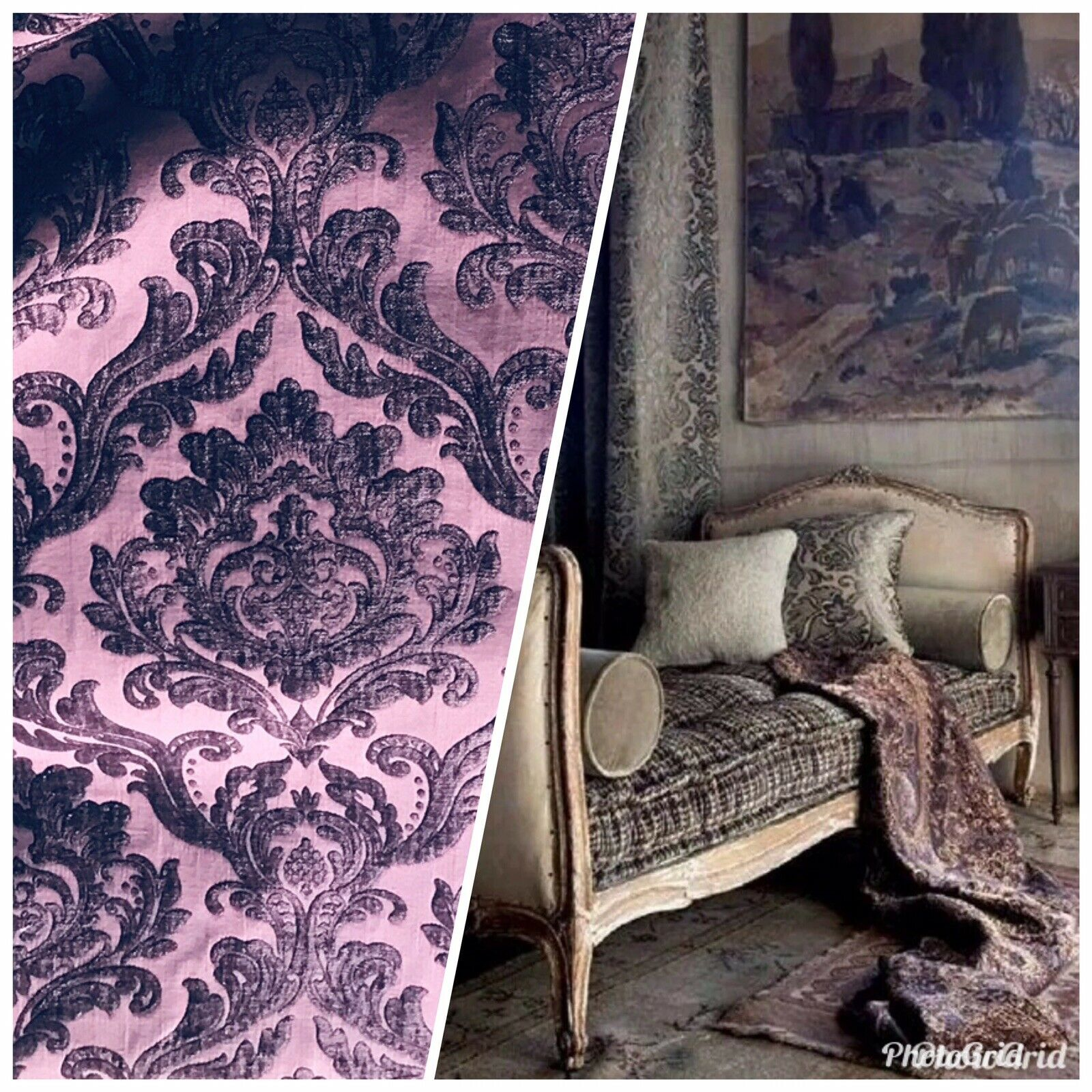 NEW Queen Isabella Designer Velvet Chenille Burnout Damask Upholstery Fabric - Purple