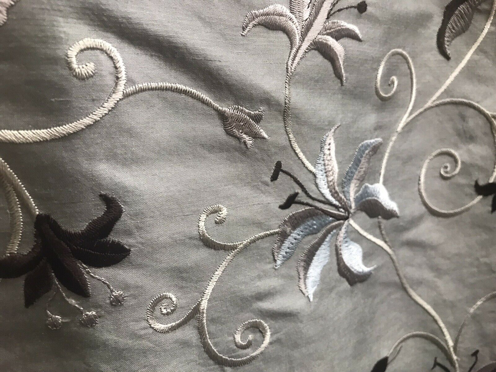 NEW! 100% Silk Embroidered Dupioni Taffeta Fabric - Floral Silver Gray Floral