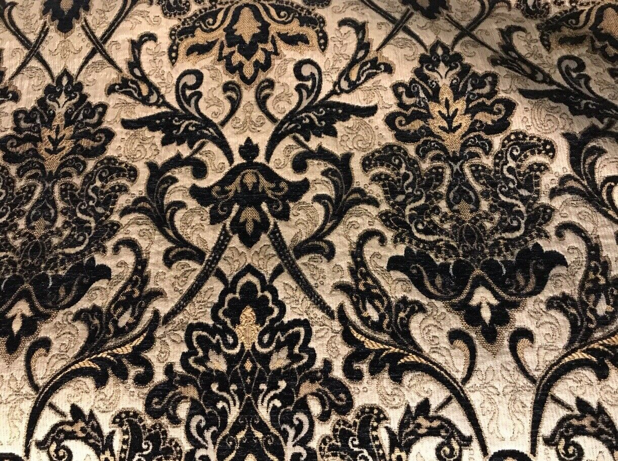 King Christopher Designer Velvet Chenille Burnout Damask Brocade Fabric - Black Beige Gold BTY