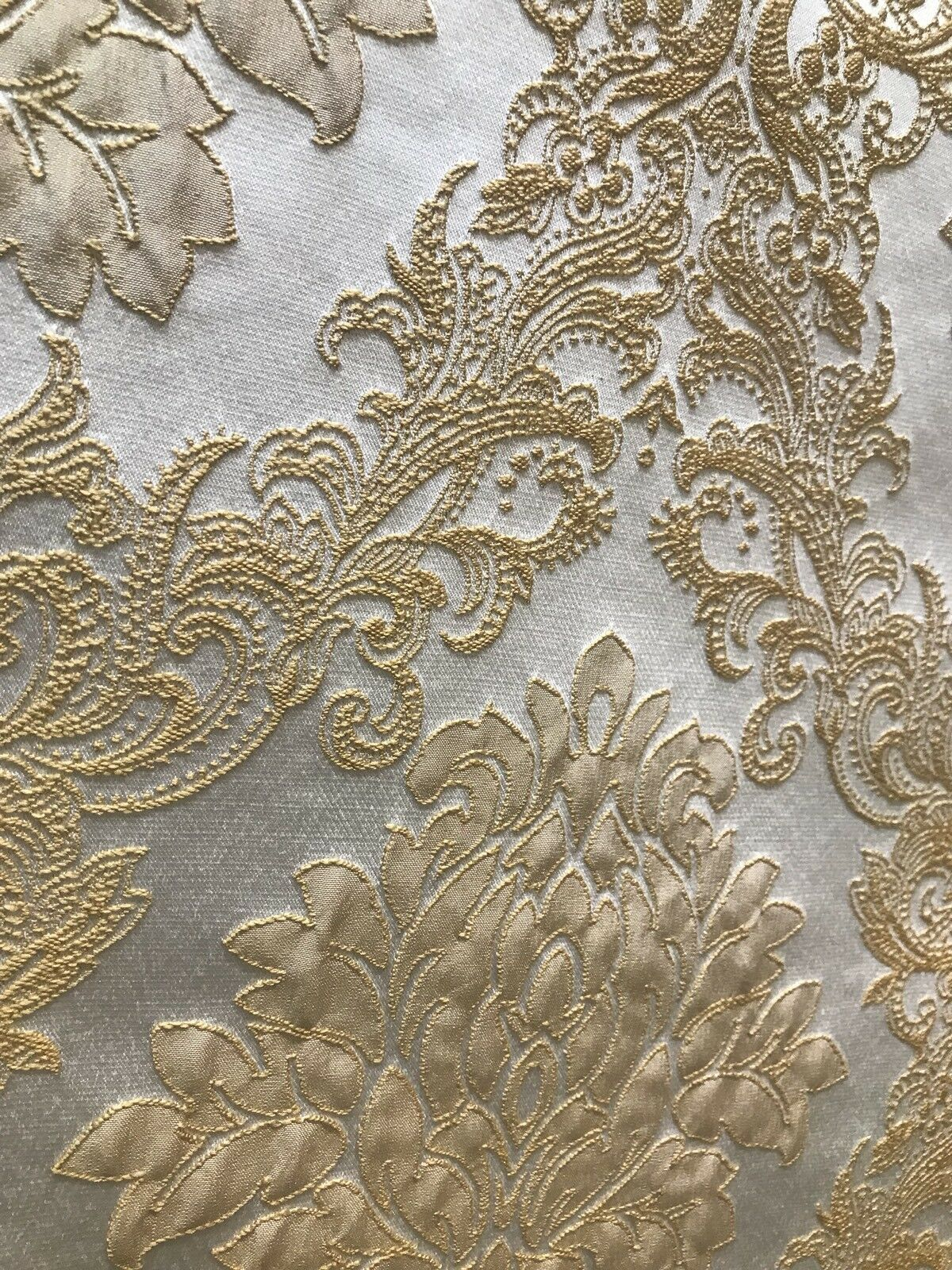 Princess Gemma Designer Brocade Satin Fabric- Antique Gold And White - Upholstery Damask