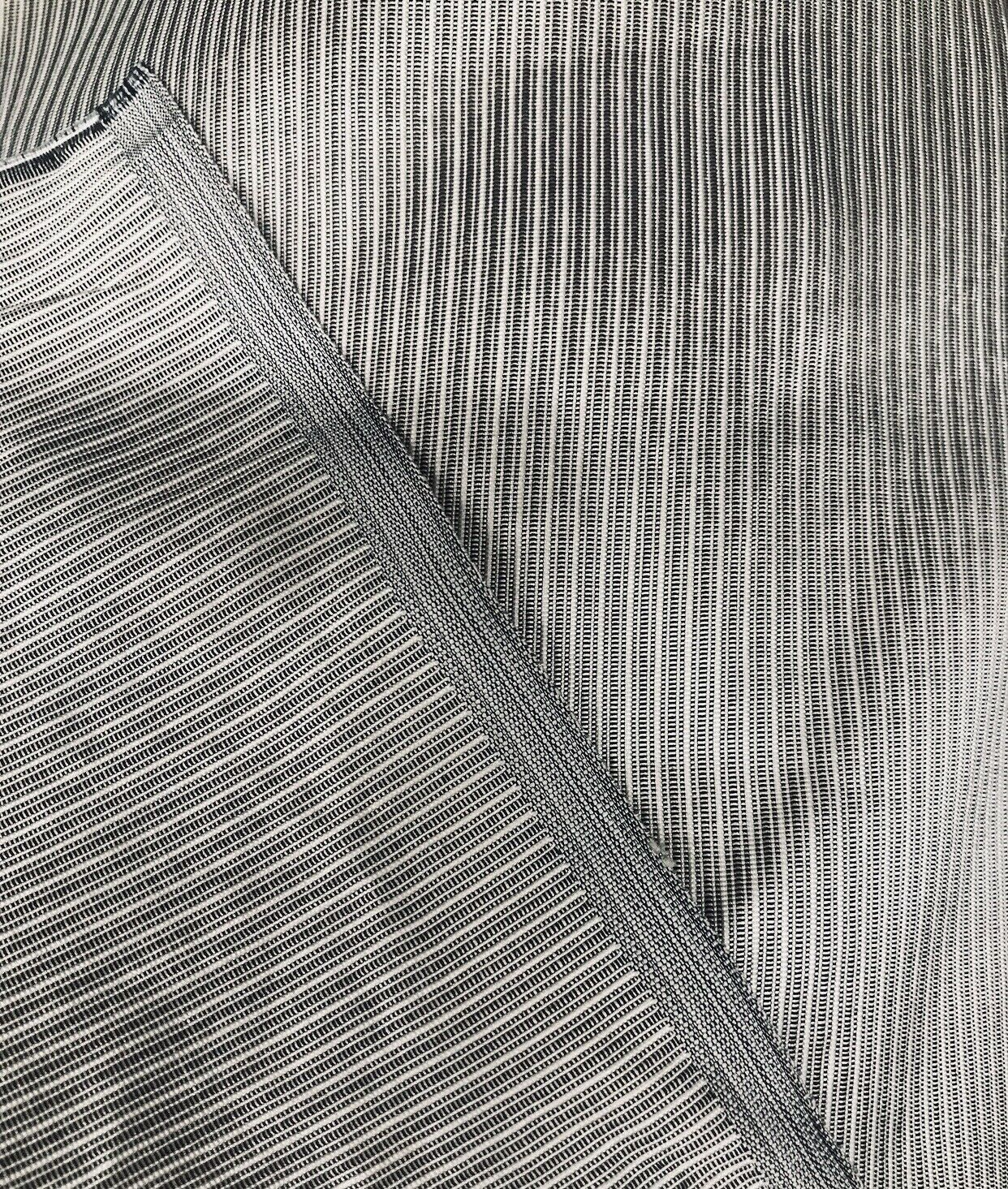 NEW SALE! Designer 100% Silk Dupioni Grey White Pinstripe Stripe Fabric Drapery
