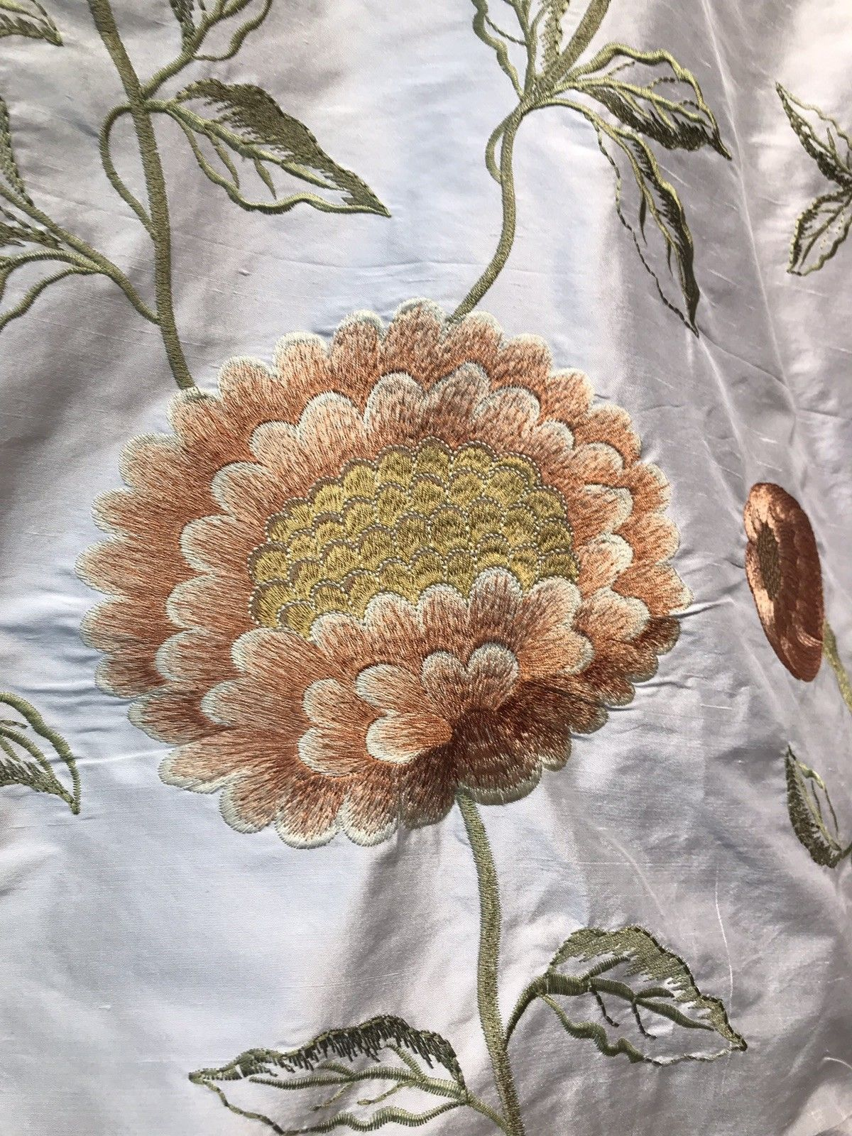 NEW! Novelty 100% Silk Taffeta Embroidered Fabric - Made in India- Floral Ivory - Fancy Styles Fabric Boutique