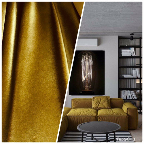 NEW Designer Velvet Upholstery And Drapery Fabric- Chartreuse Yellow Ochre