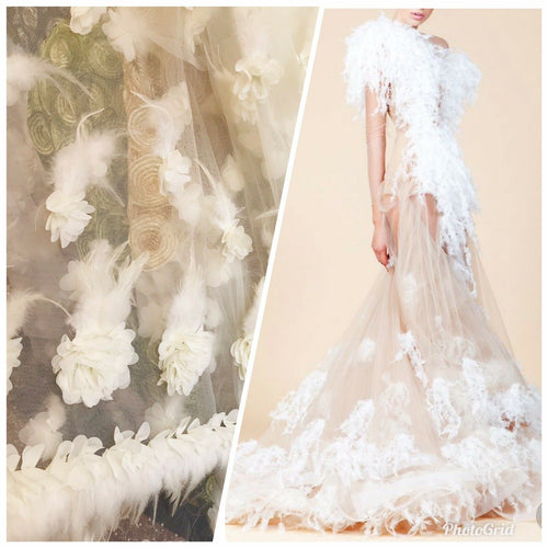 NEW Novelty Couture 3D Mesh Lace With Feathers Fabric- White BTY