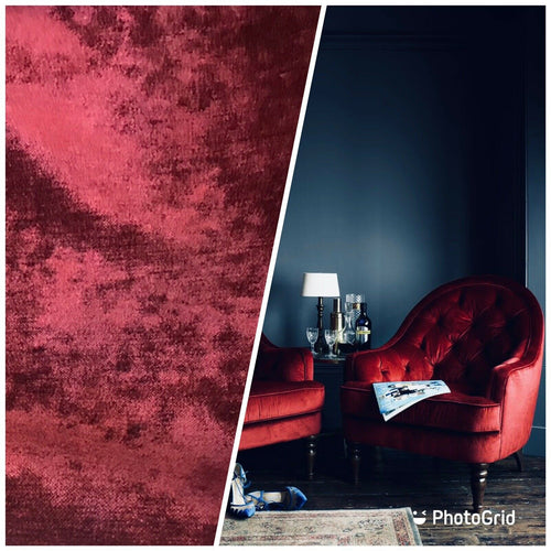 NEW! Designer Upholstery Velvet Chenille Fabric - Wine Red - BTY