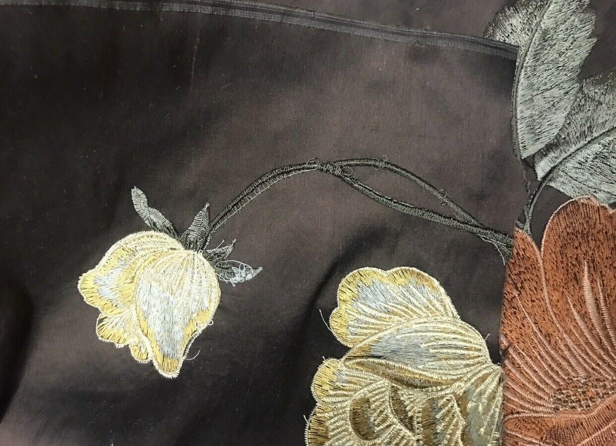 NEW! SALE! 100% Silk Dupioni Embroidered Floral Fabric- Chocolate Brown