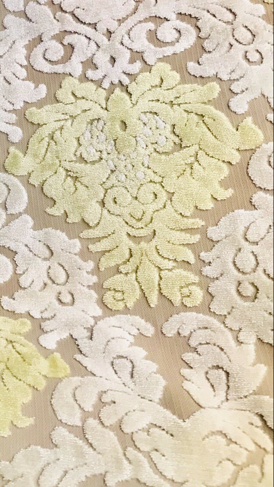 Sir Mason Novelty Italian Burnout Damask Chenille Upholstery Velvet Fabric Yellow Cream