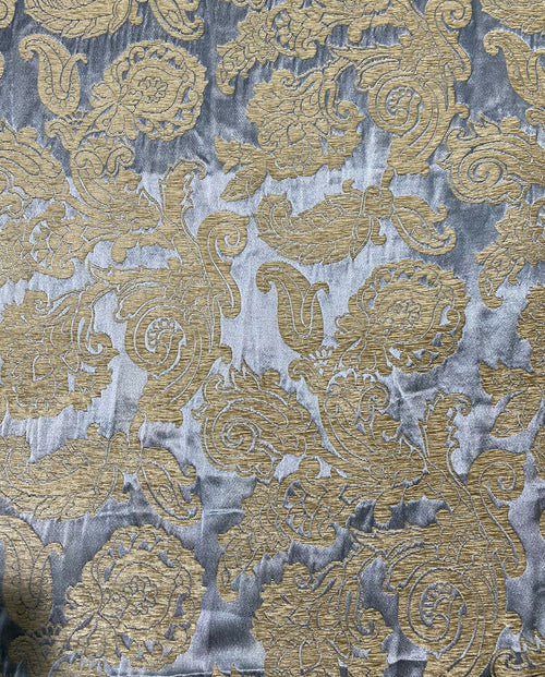 Fat Quarter- Style Z- Floral Burnout Chenille Velvet Satin Fabric - Blue And Gold BTY