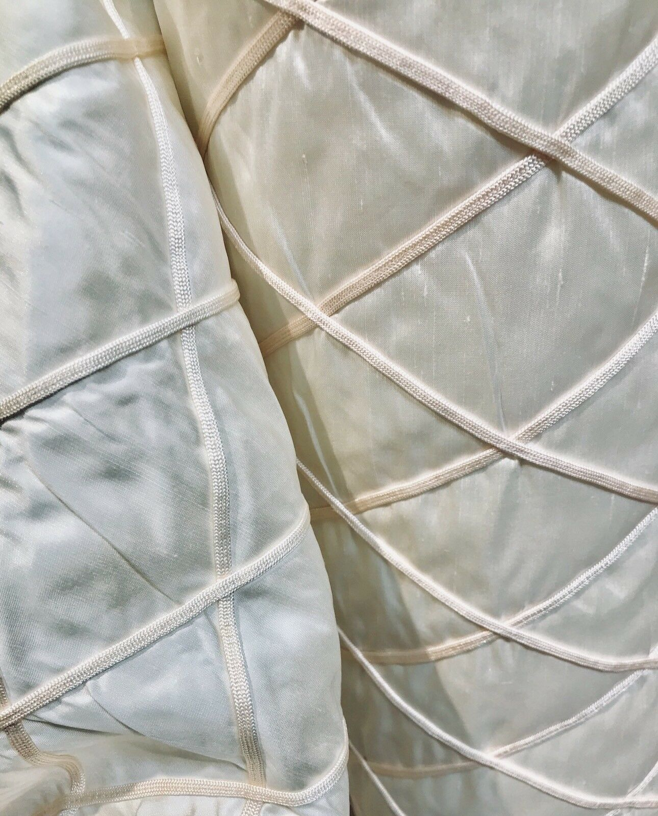 100% Silk Satin Quilted Designer Fabric- Ivory And Pink