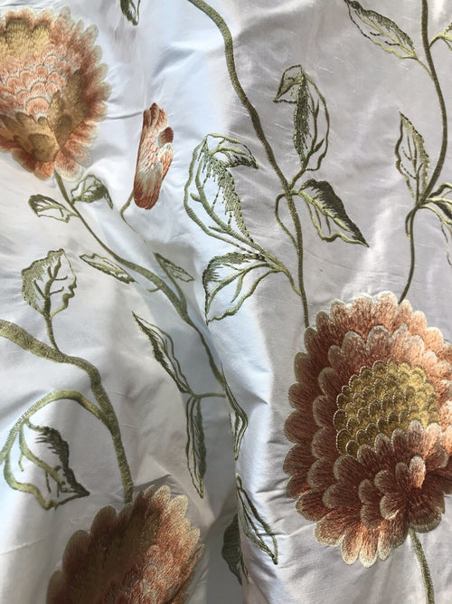 NEW! Novelty 100% Silk Taffeta Embroidered Fabric - Made in India- Floral Ivory
