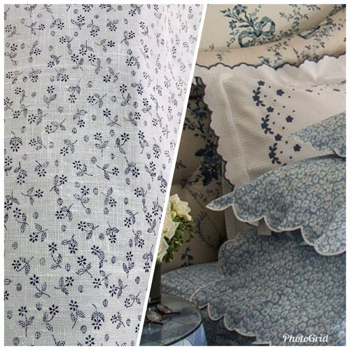 NEW Decorating 100% Linen Fabric - French Floral Country Blue White - Fancy Styles Fabric Pierre Frey Lee Jofa Brunschwig & Fils
