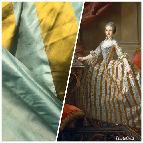 NEW Designer 100% Silk Taffeta Dupioni Stripes Fabric - Light Teal & Gold BTY