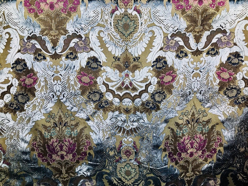 NEW! Italian Designer Burnout Damask Velvet Upholstery Fabric - Antique Blue - Fancy Styles Fabric Boutique