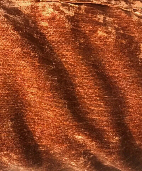 NEW! Designer Upholstery Velvet Chenille Fabric - Rust Burnt Orange Brown - BTY