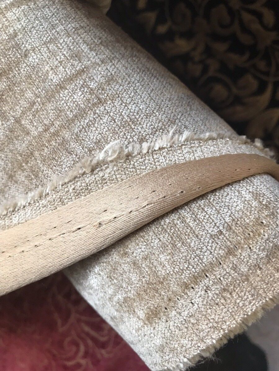 SWATCH- Designer Velvet Chenille Fabric - Antique Taupe Beige - Upholstery - Fancy Styles Fabric Boutique