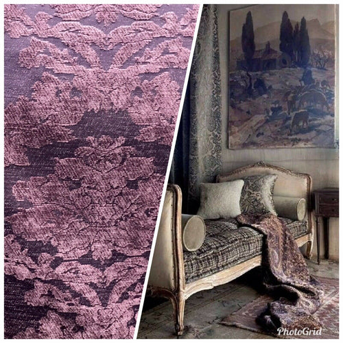 NEW Designer Velvet Chenille Burnout Damask Upholstery Fabric - Purple