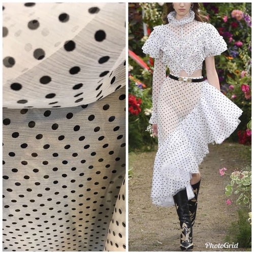 SALE! Close-Out Designer Runway 100% Silk Fabric Chiffon Polka Dot by the yard - Fancy Styles Fabric Boutique