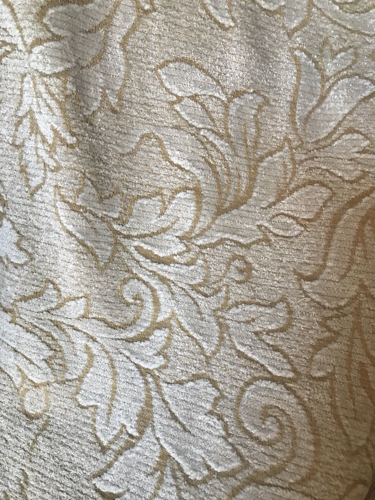 SALE! Designer Velvet Chenille Burnout Fabric - Yellow Beige - Fancy Styles Fabric Boutique
