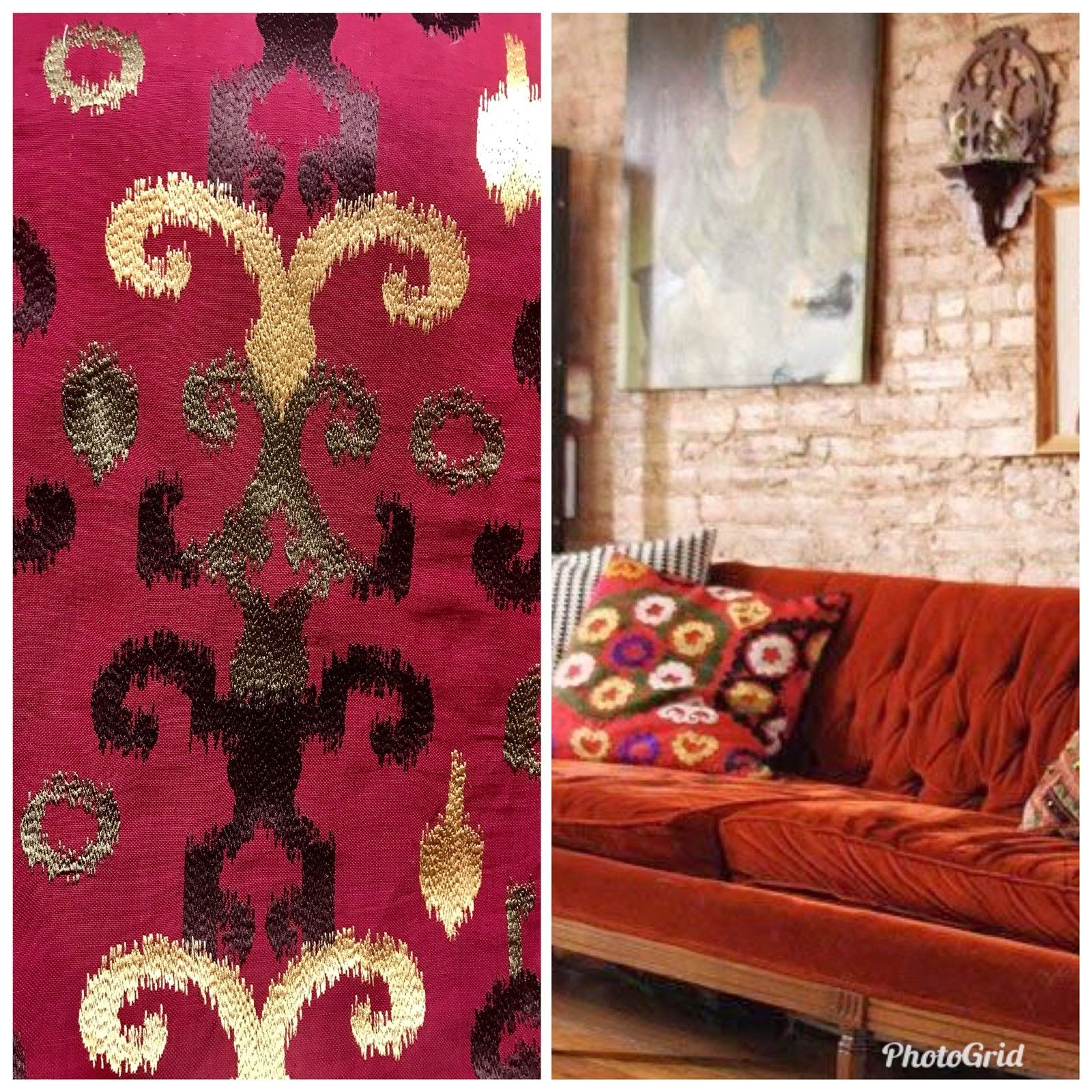 Embroidered Drapery Upholstery Fabric Red Gold Brown Suzani