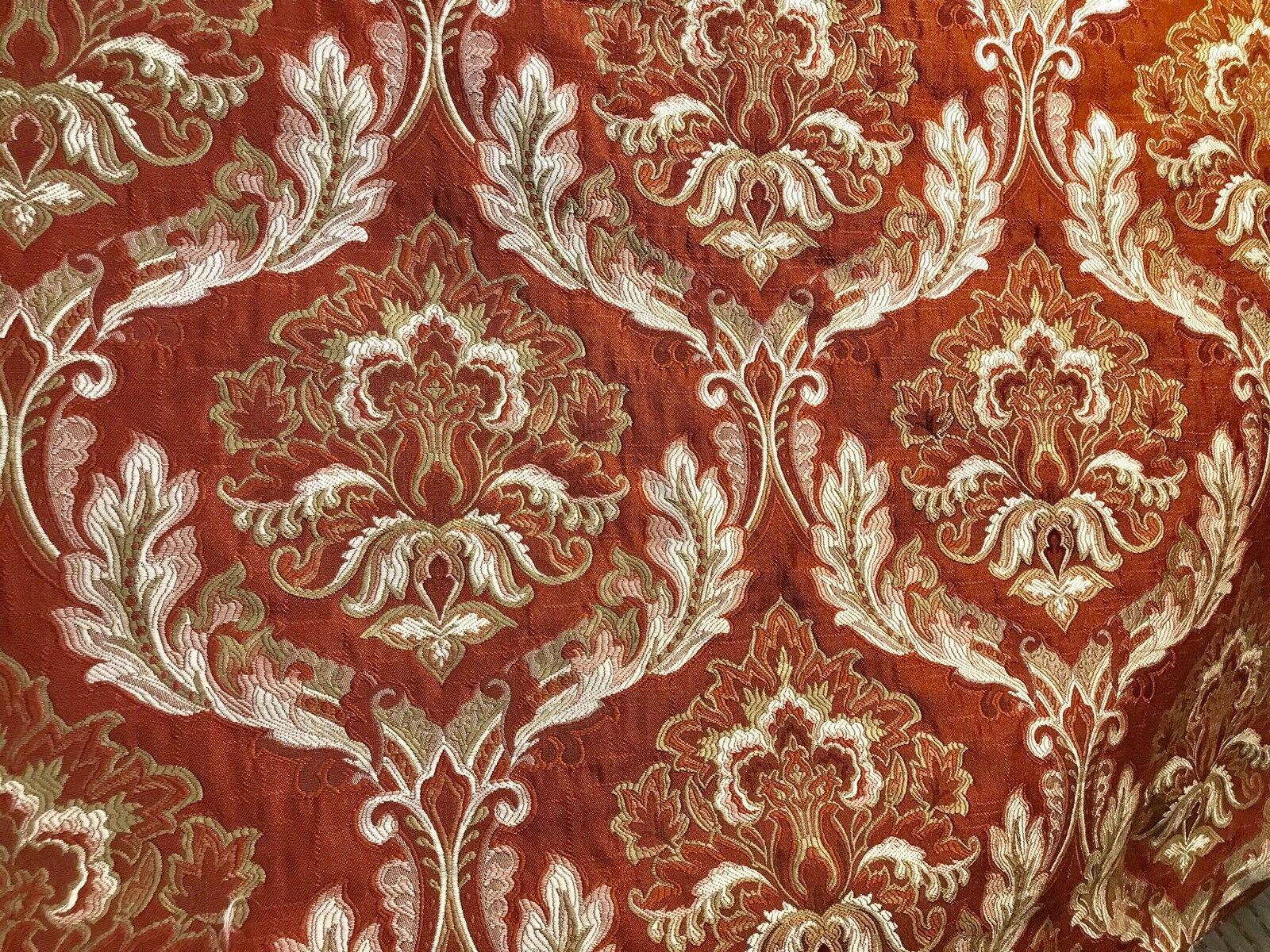NEW! Designer Quilted Brocade Damask Upholstery Fabric- Rust Brick Red
