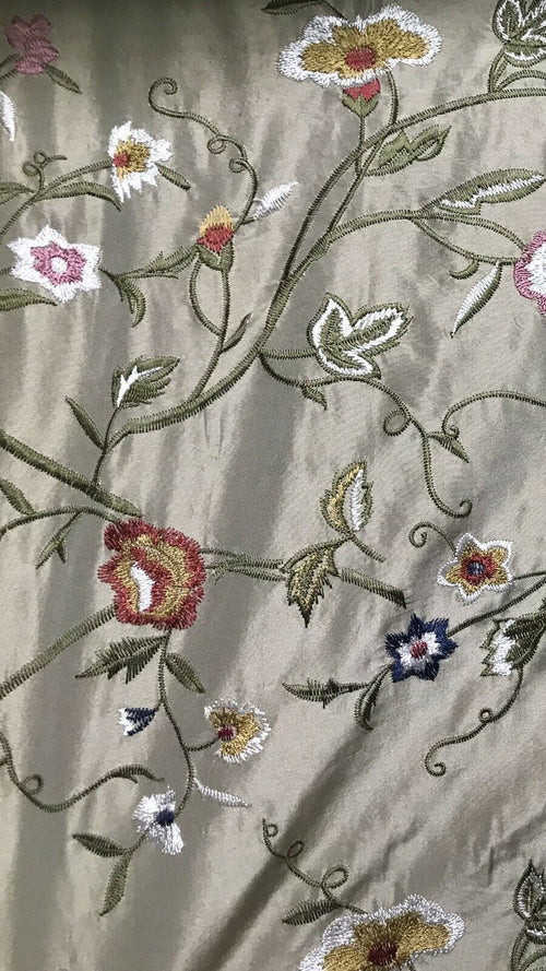 NEW! Designer 100% Silk Dupioni Embroidery Floral Fabric- Taupe