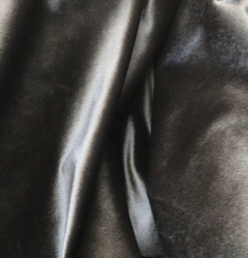 NEW Designer Velvet Drapery Fabric -Dark Grey- By The Yard