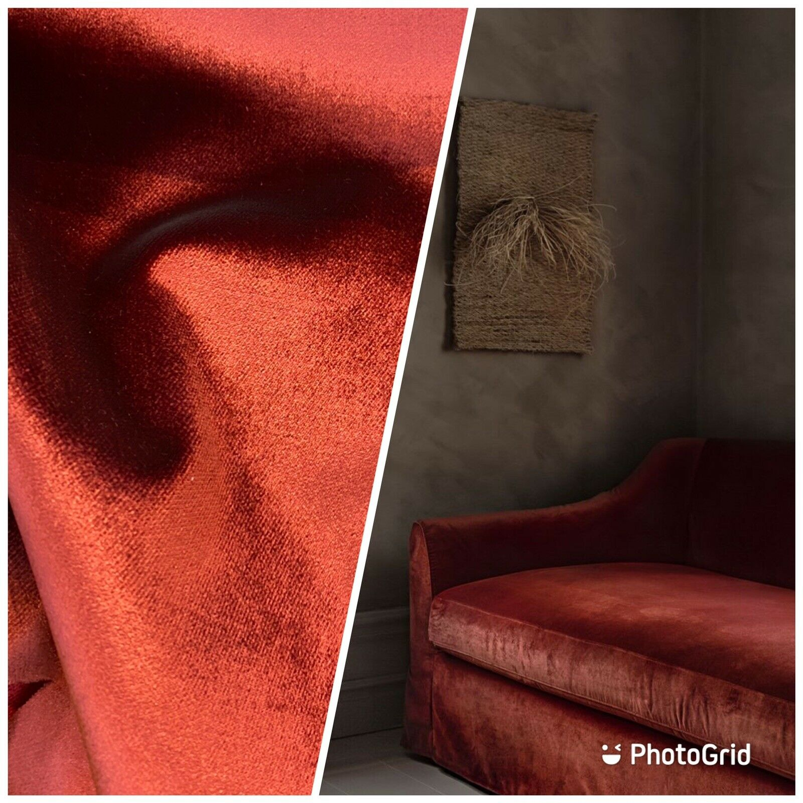 NEW Designer Made In Belgium Upholstery Velvet Fabric- Rust Red