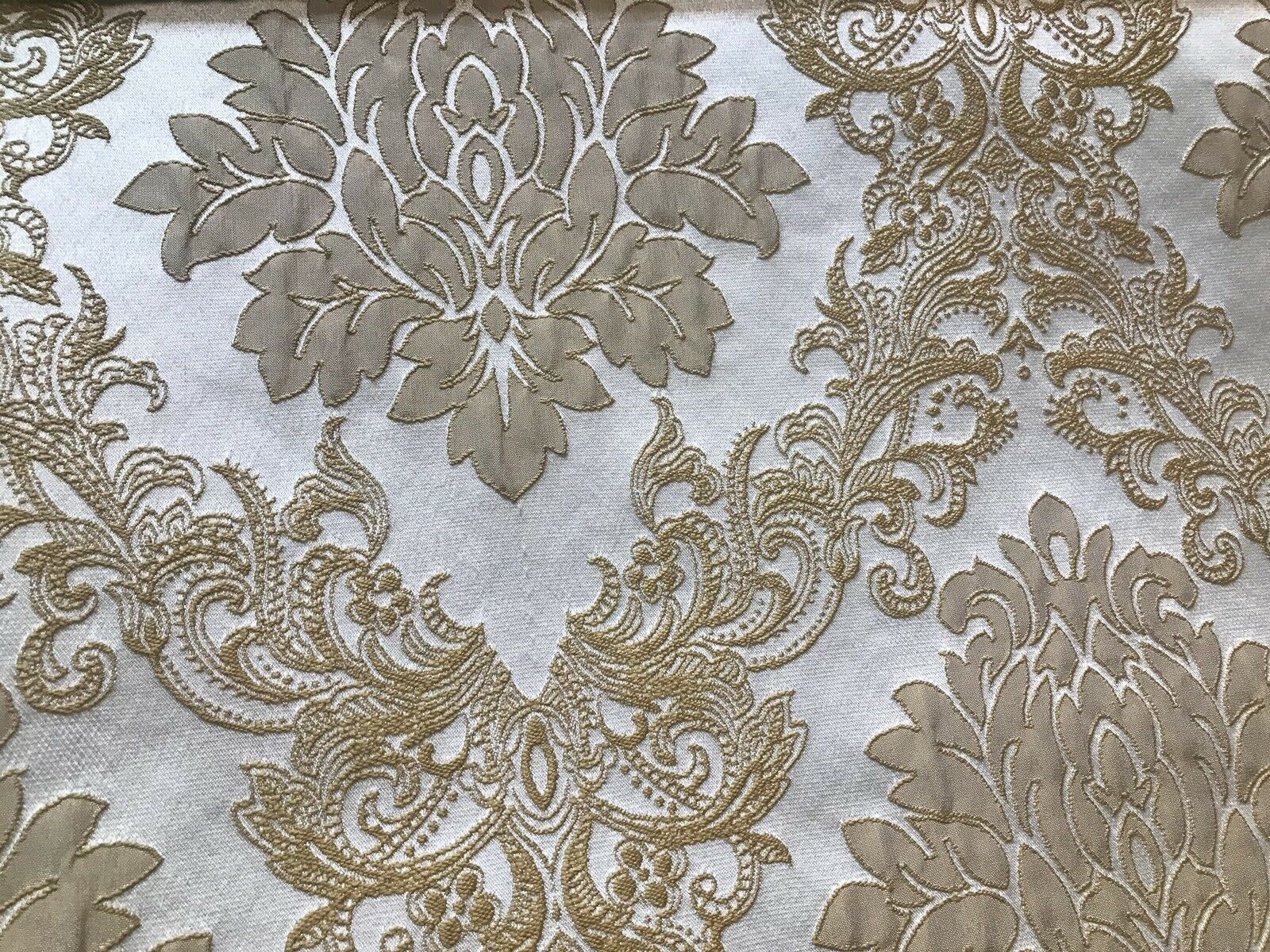 Designer Brocade Satin Fabric- Antique Gold And White - Upholstery Damask