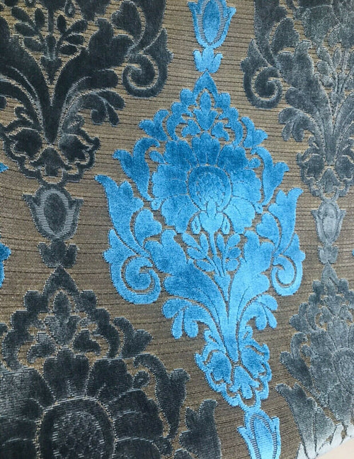 Novelty Italian Burnout Upholstery Chenille Velvet Fabric- Blue Gold