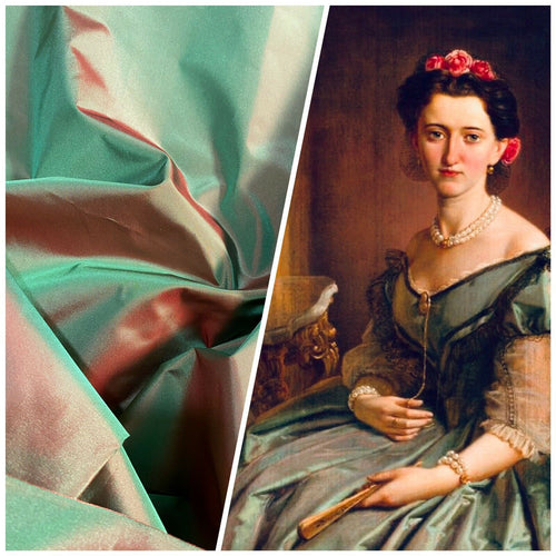 Lady Lisa Designer 100% Silk Taffeta Fabric - Electric Green with Cinnamon Red Iridescence
