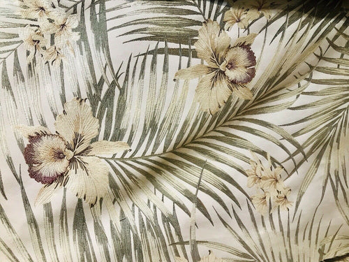 BACK IN STOCK! Designer Brocade Upholstery Fabric- Palm Leaves Floral Cream
