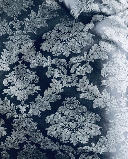 NEW Designer Velvet Chenille Burnout Damask Upholstery Fabric - Navy Blue S1
