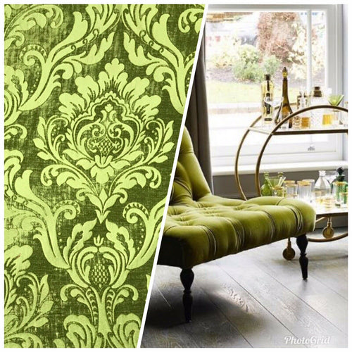 NEW! Designer Damask Burnout Chenille Velvet Fabric - Apple Green BTY