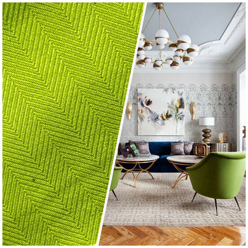 Designer Upholstery Herringbone Chevron Pattern Tweed Fabric -Lime Green