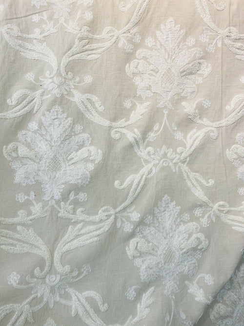 NEW! Lady Nora Novelty 100% Silk Fabric With Crewel Floral Embroidery- Ecru & White