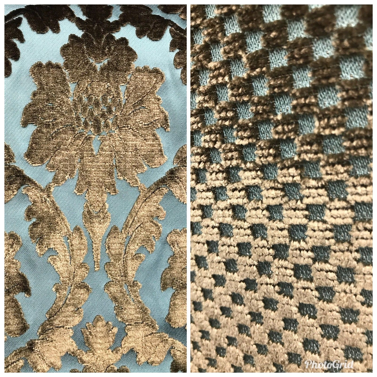 NEW Novelty Made In Italy Upholstery Velvet Fabric Antique Teal Bronze Venetian - Fancy Styles Fabric Boutique