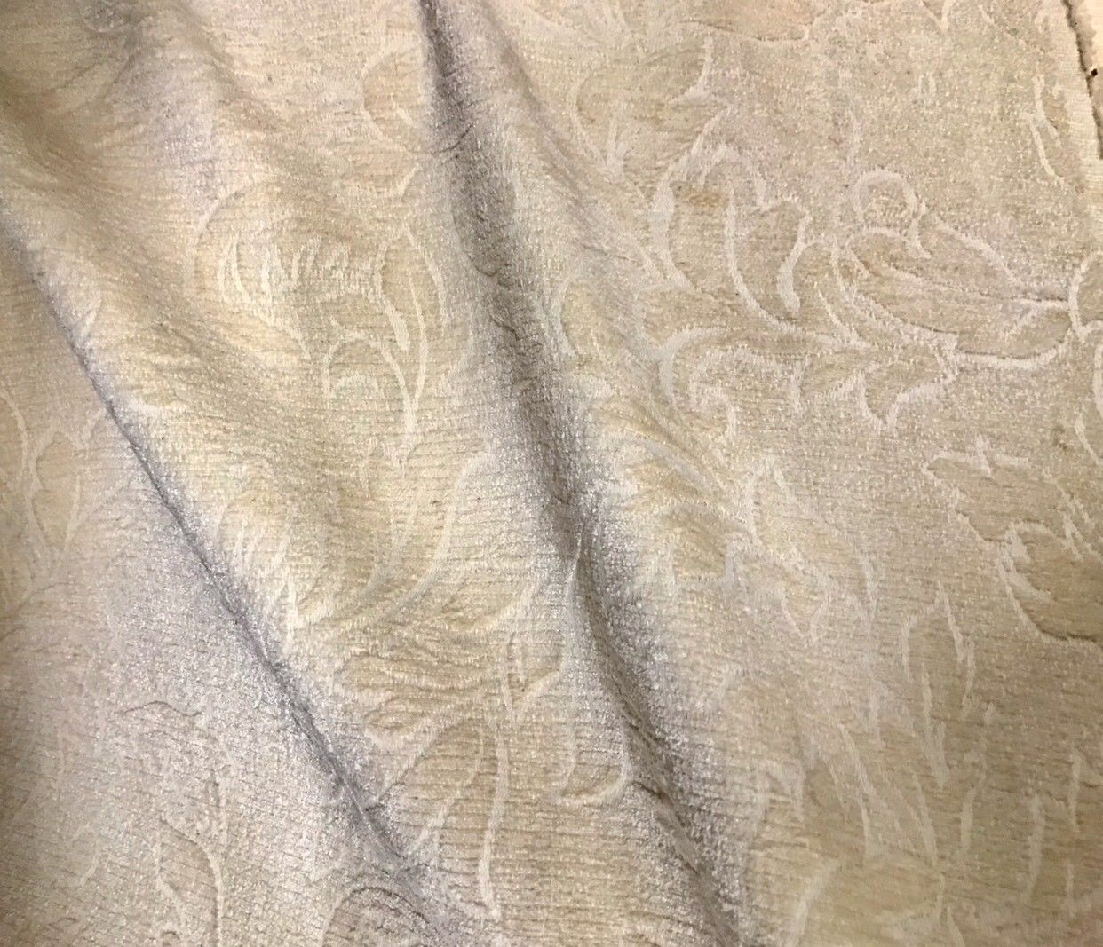 SWATCH Designer Floral Burnout Chenille Velvet Fabric - Brocade- Cream - Fancy Styles Fabric Boutique