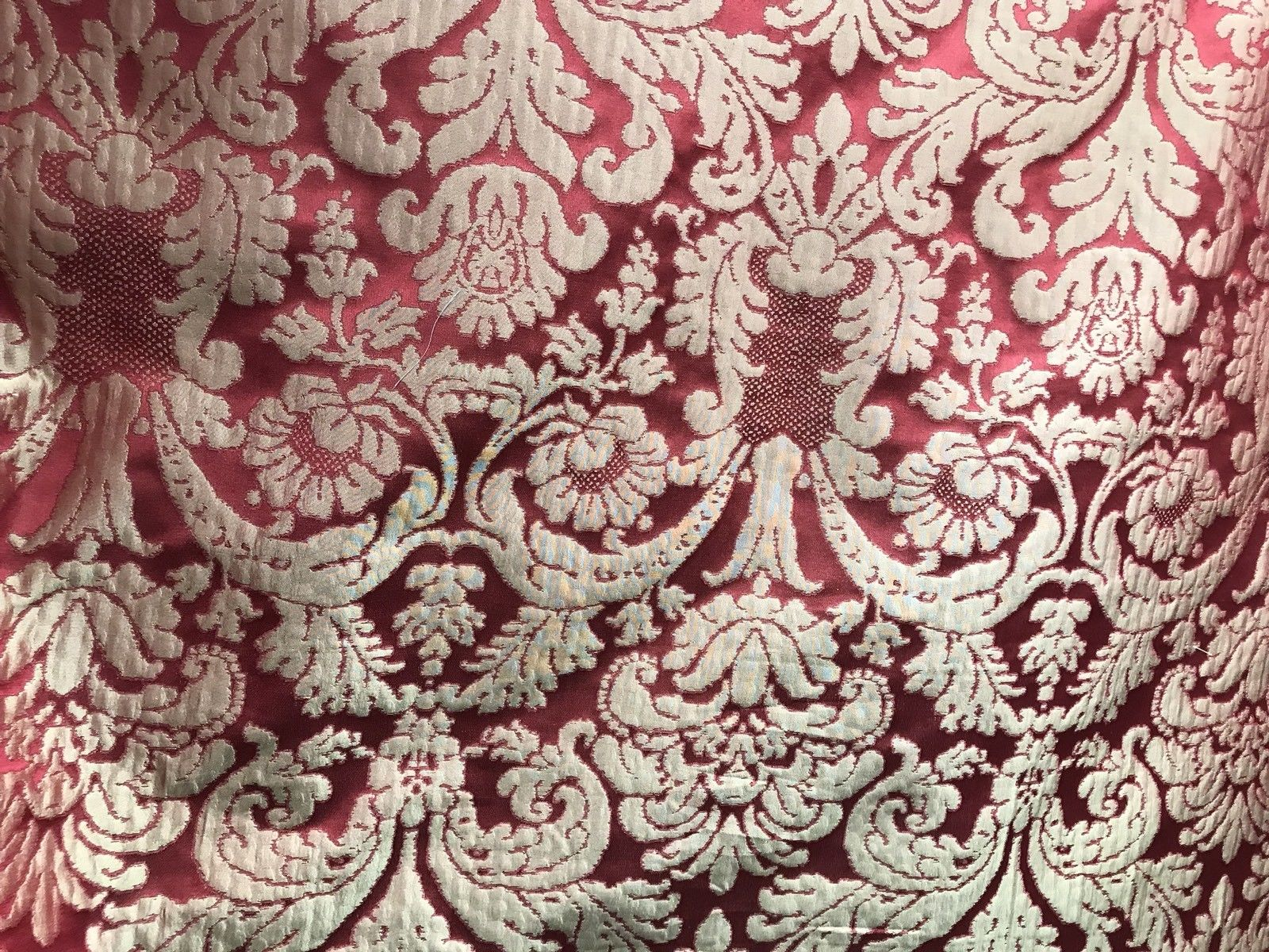SWATCH- 100% Silk Taffeta Damask Interior Design Fabric - Rouge Red - Fancy Styles Fabric Boutique