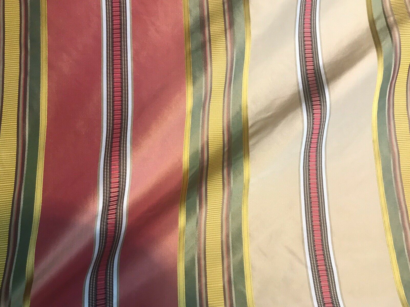 NEW Designer 100% Silk Taffeta Dupioni Ribbon Stripes Fabric - Multicolor