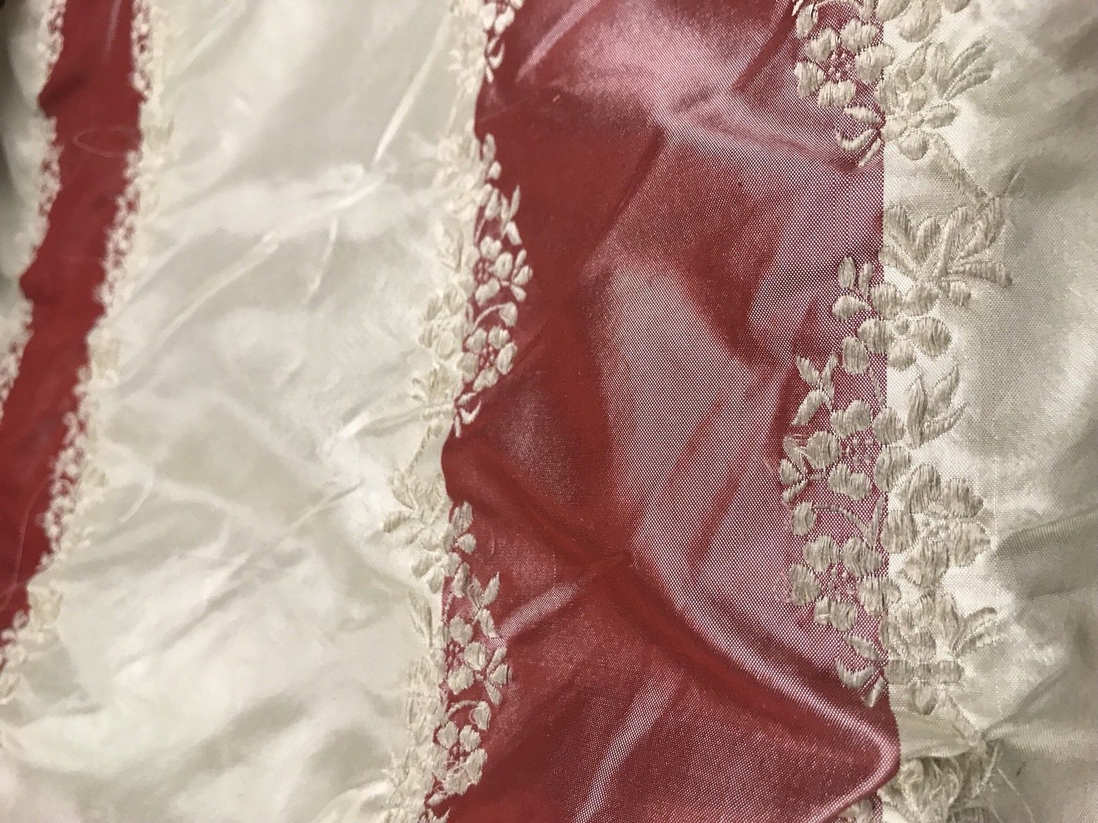 NEW! SALE! 100% Silk Taffeta Fabric Embroidery Stripe Floral- Muted Red + Ivory - Fancy Styles Fabric Boutique