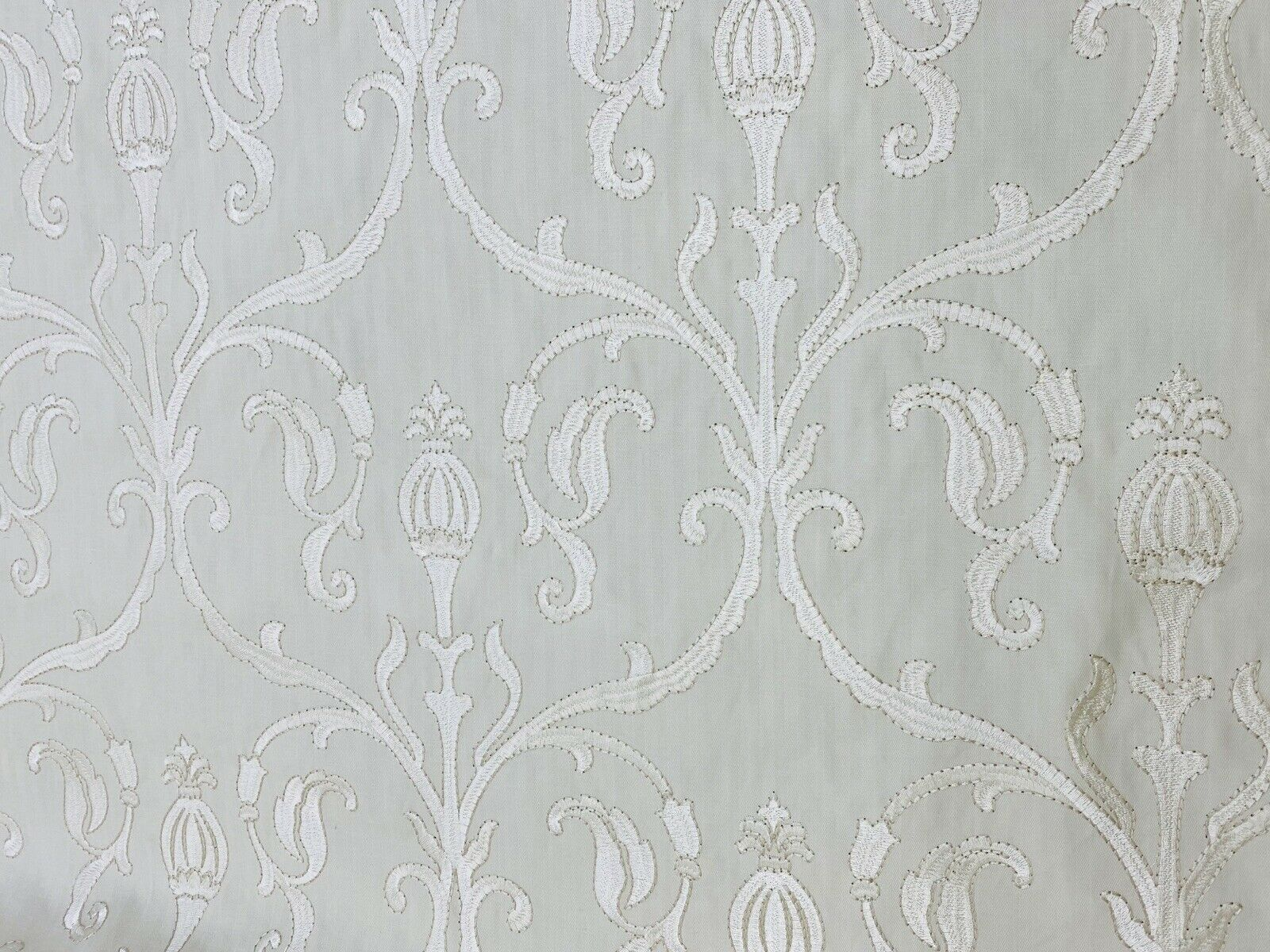 NEW! Princess Eleanor Novelty 100% Cotton Fabric Floral Damask Embroidery- White On White