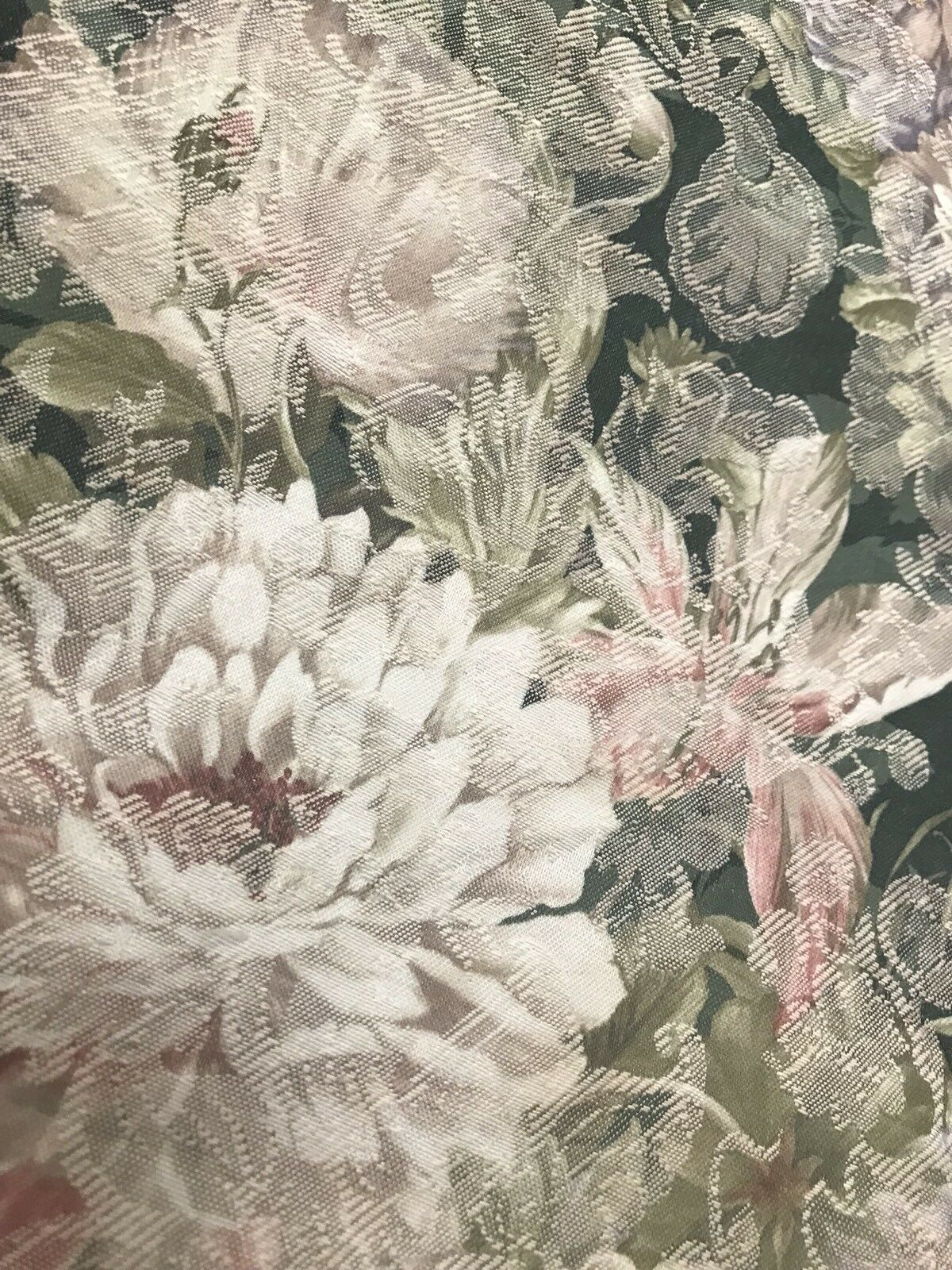 1 Yard Remnant- Decorating Drapery Fabric - French Green Floral Brocade Print