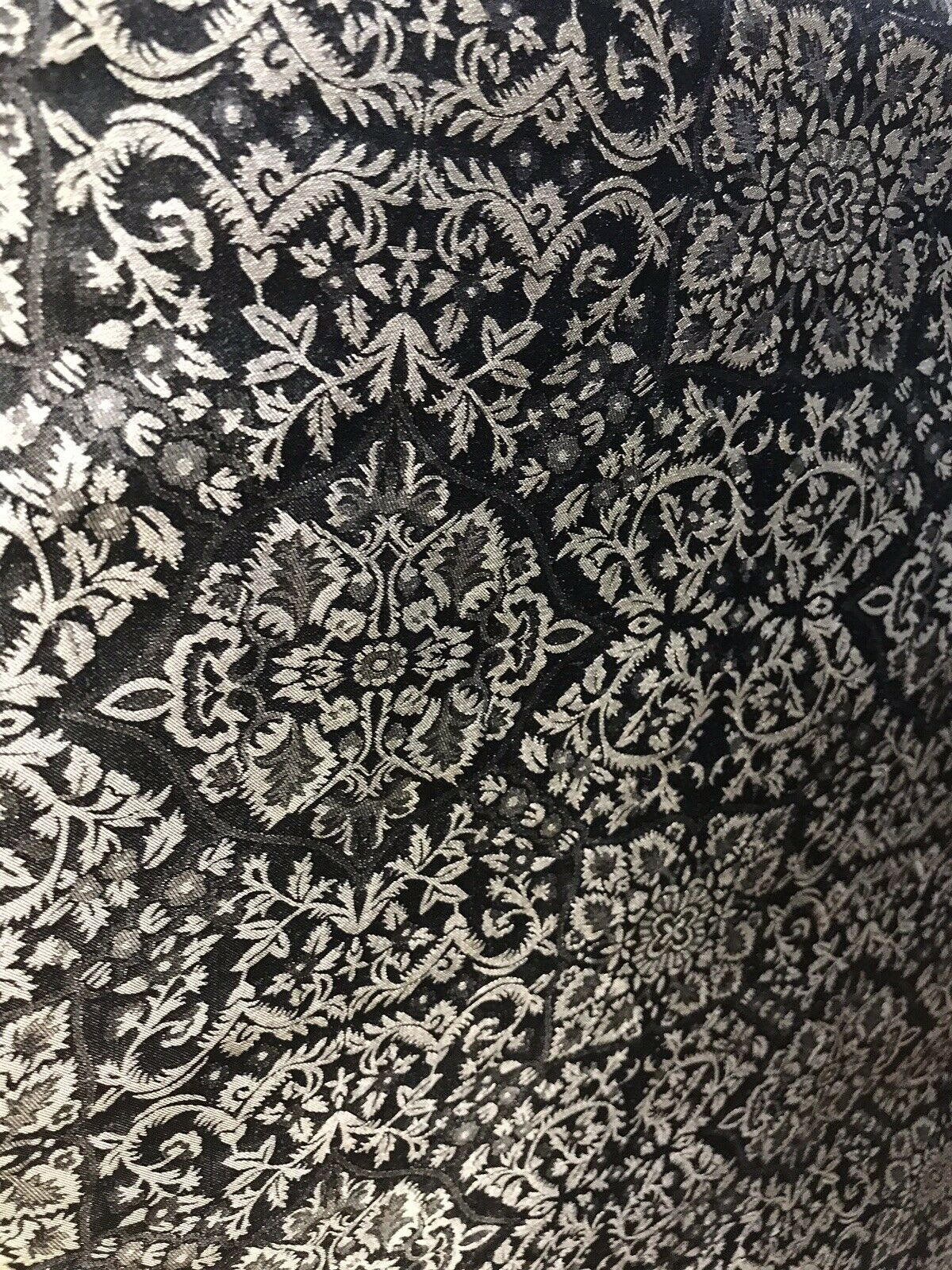 SALE! 100% Silk Taffeta Ornate Drapery Fabric - Gold And Black-By The Yard